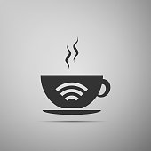 Cup of coffee shop with free wifi zone sign. Internet connection placard icon isolated on grey background. Flat design. Vector Illustration