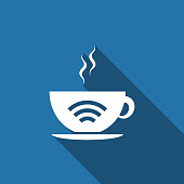 Cup of coffee shop with free wifi zone sign. Internet connection placard icon isolated with long shadow. Flat design. Vector Illustration