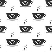 Cup of coffee shop with free wifi zone sign. Internet connection placard icon seamless pattern on white background. Flat design. Vector Illustration