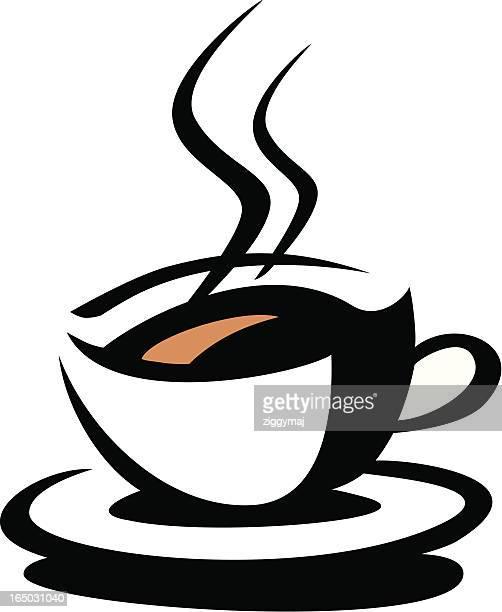 ilustraciones, imágenes clip art, dibujos animados e iconos de stock de taza de café con símbolo - al vapor