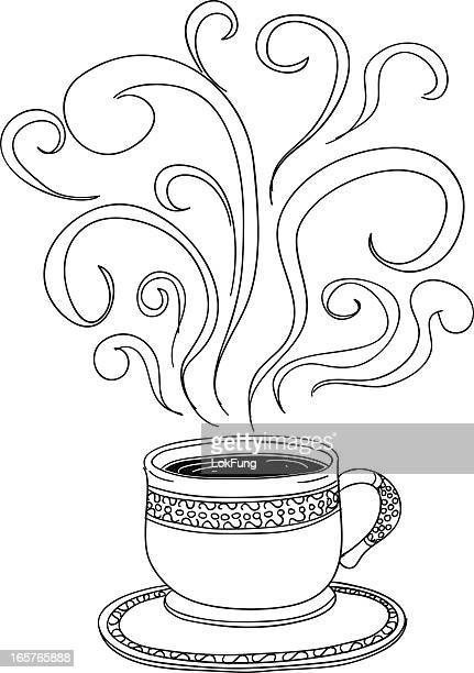 cup of coffee - steam stock illustrations