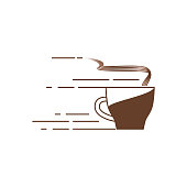 A cup of coffee with steam. Vector linear icon.