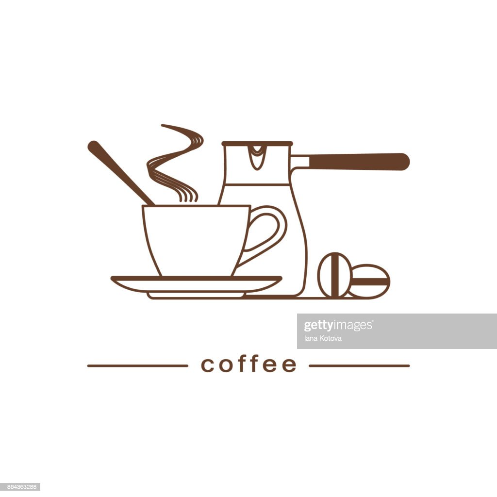 A Cup Of Hot Coffee Coffee Beans Cezve Linear Icon Logo For The Menu