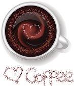 Cup of hot coffee, shugar hart