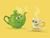 Cup of tea and tea pot characters
