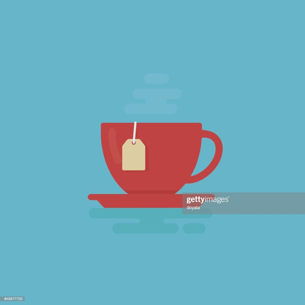 Cup Of Tea With Steam Illustration. Tea Time Concept