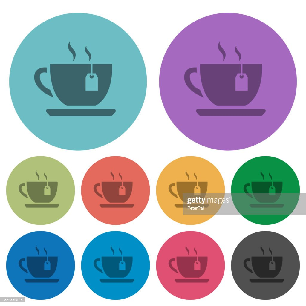Cup of tea with teabag color darker flat icons