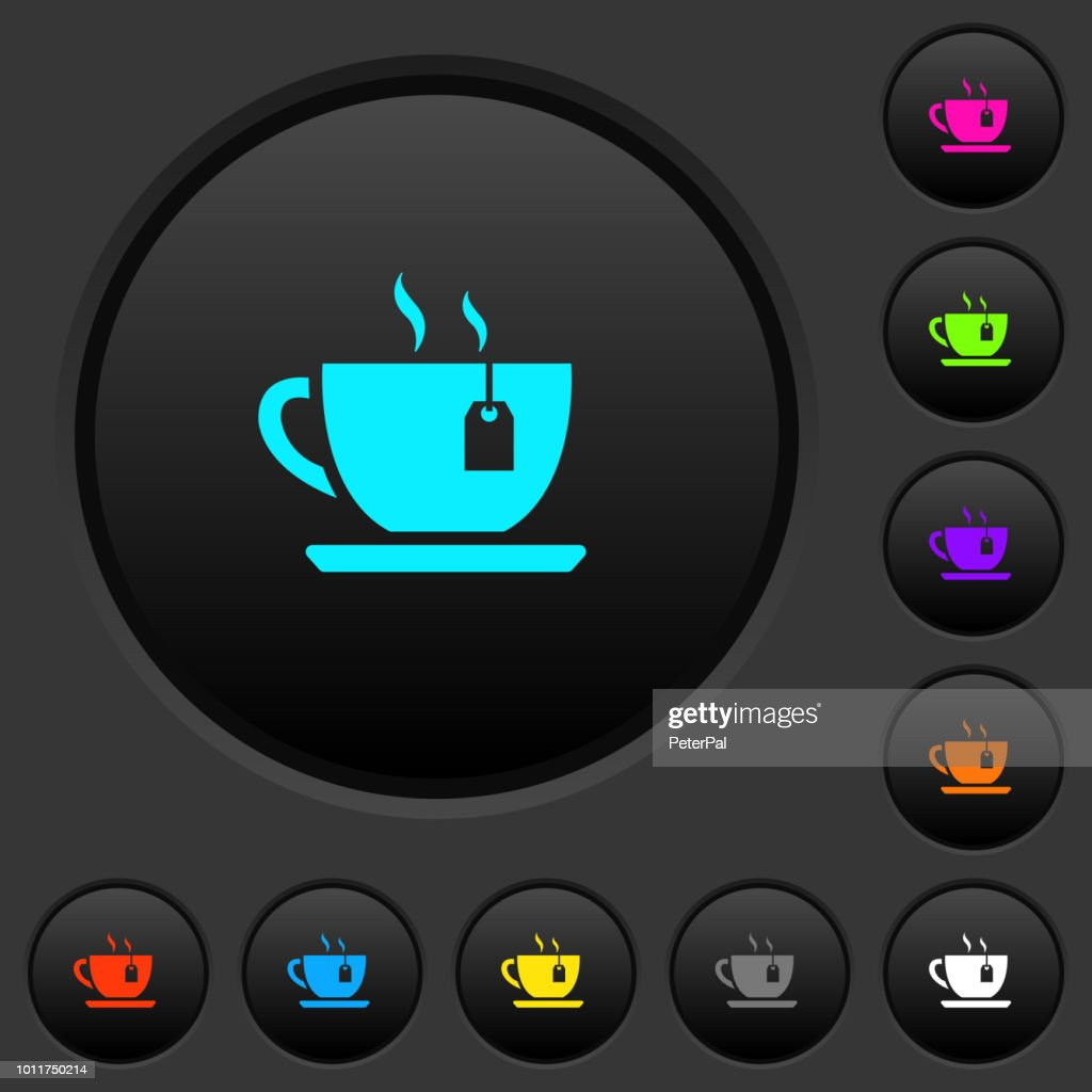 Cup of tea with teabag dark push buttons with color icons