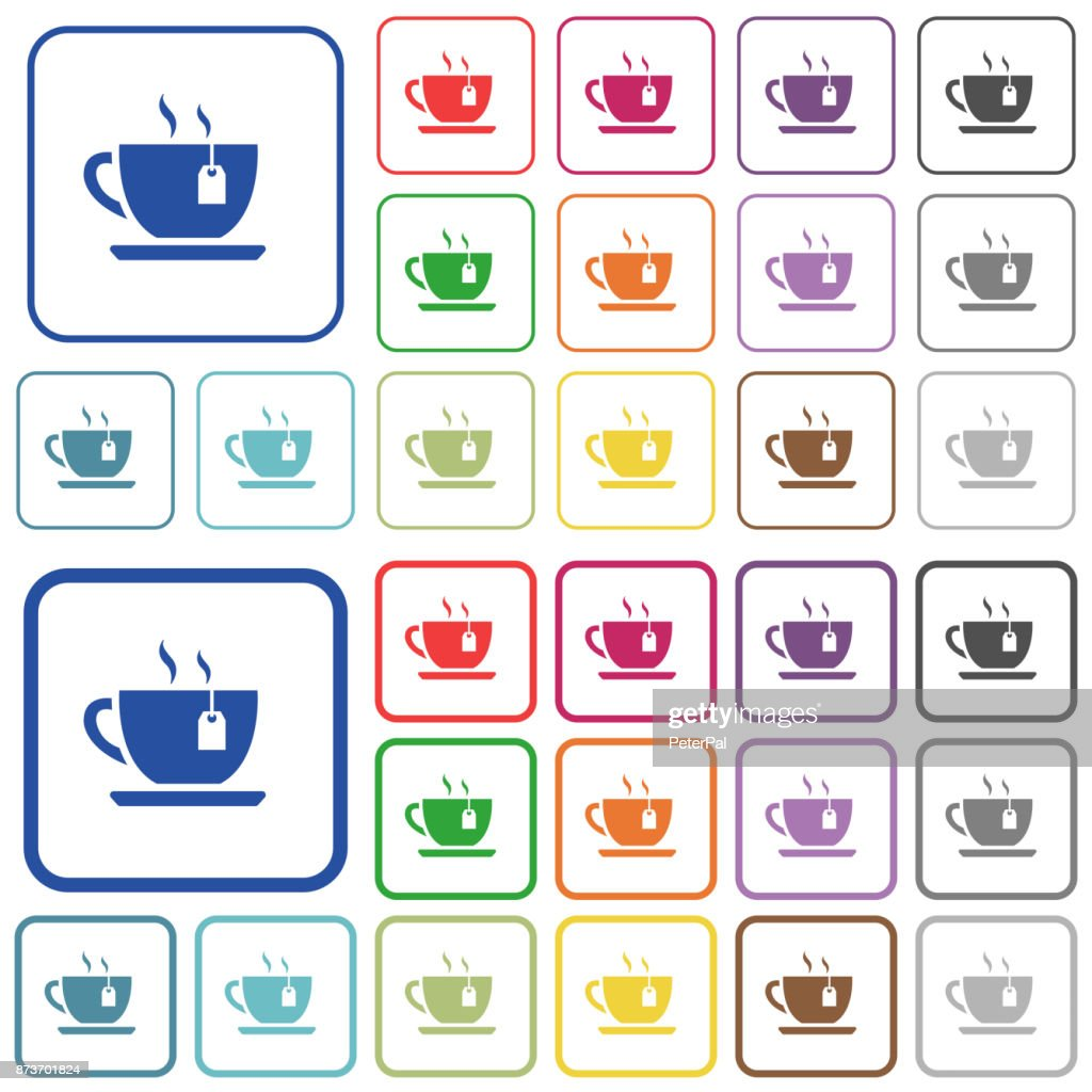 Cup of tea with teabag outlined flat color icons
