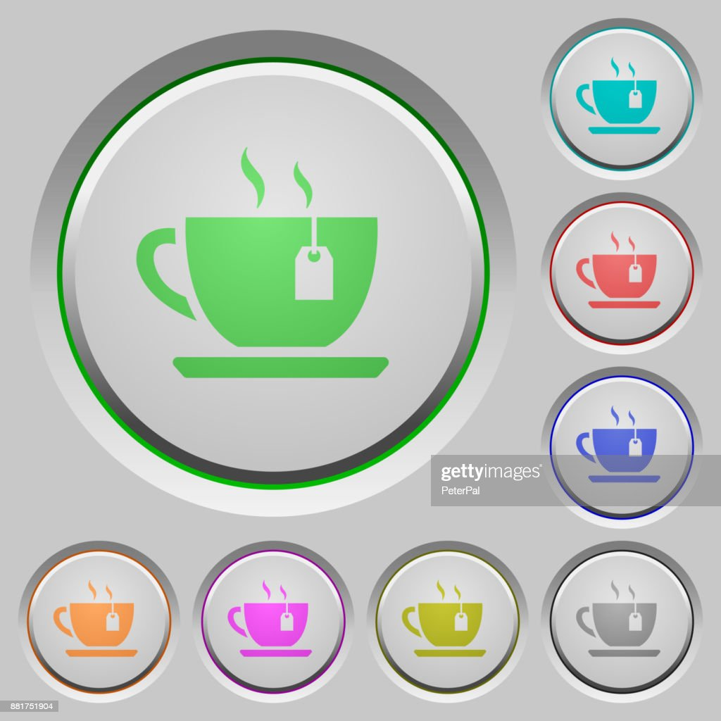 Cup of tea with teabag push buttons