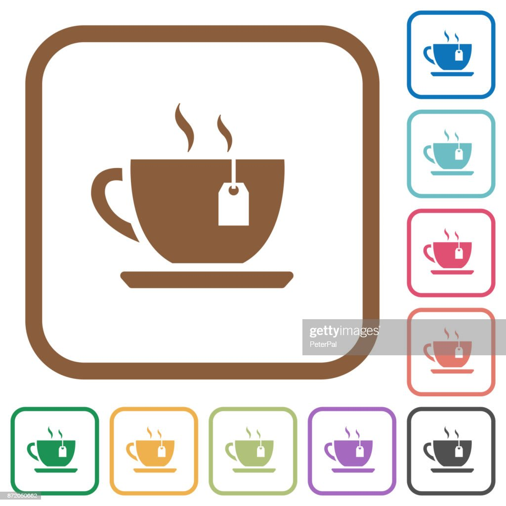 Cup of tea with teabag simple icons
