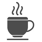 Cup solid icon. Hot coffee drink or tea mug on plate symbol, glyph style pictogram on white background. Business and cafe sign for mobile concept and web design. Vector graphics.