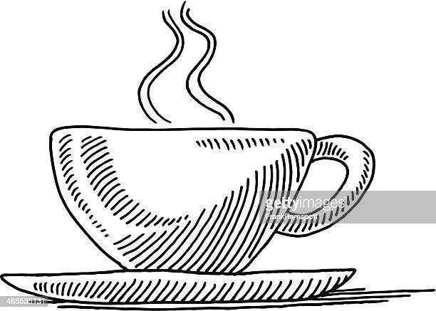 cup tea side view drawing - saucer stock illustrations