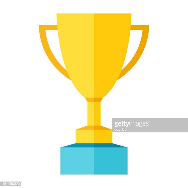 cup trophy award flat icon - color illustration - trophy stock illustrations