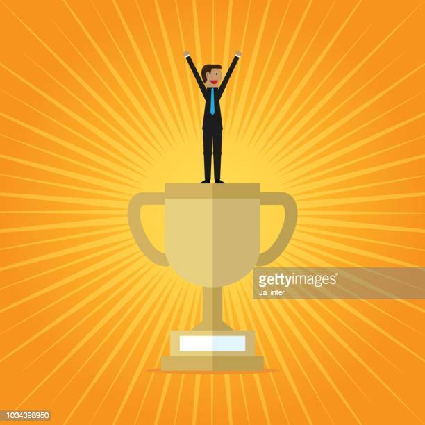 cup trophy successful winner - applauding stock illustrations, clip art, cartoons, & icons