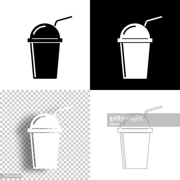 illustrations, cliparts, dessins animés et icônes de tasse avec de la paille. icône pour le design. fond blanc, blanc et noir - icône de ligne - dôme