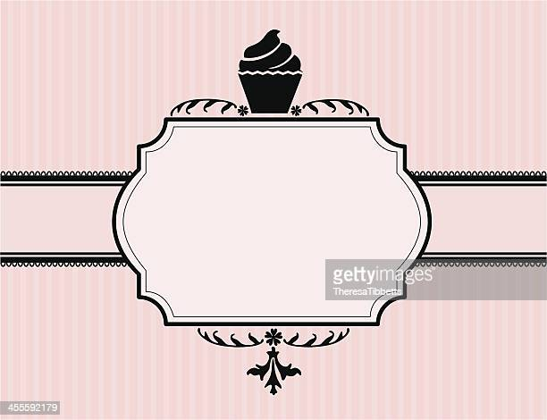 cupcake banner - icing stock illustrations