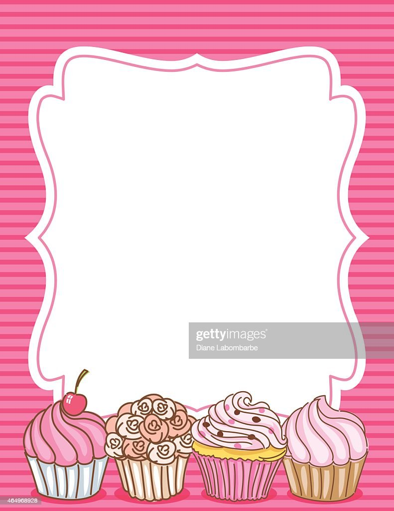 Cupcake border invitation background pink vector art getty images cupcake border invitation background pink vector art stopboris Images