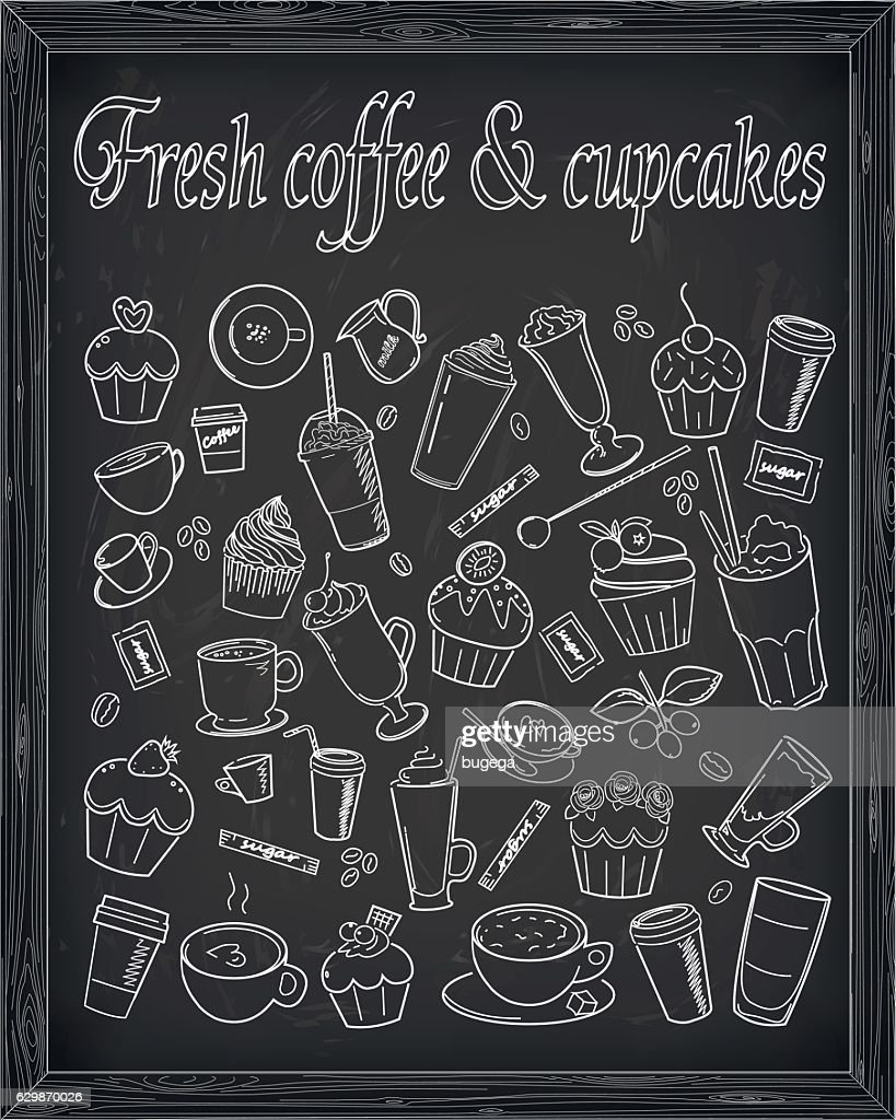 Cupcake coffee latte cup cake  sign signboard vector line illustration
