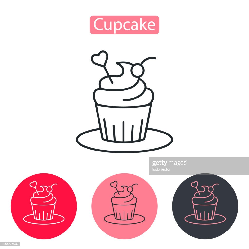 Cupcake decorated with heart icon.