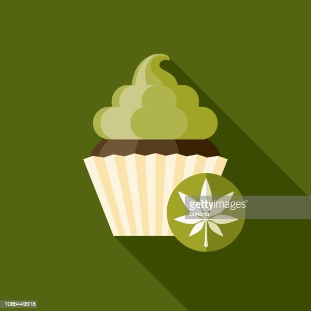 cupcake flat design marijuana icon - baked stock illustrations, clip art, cartoons, & icons