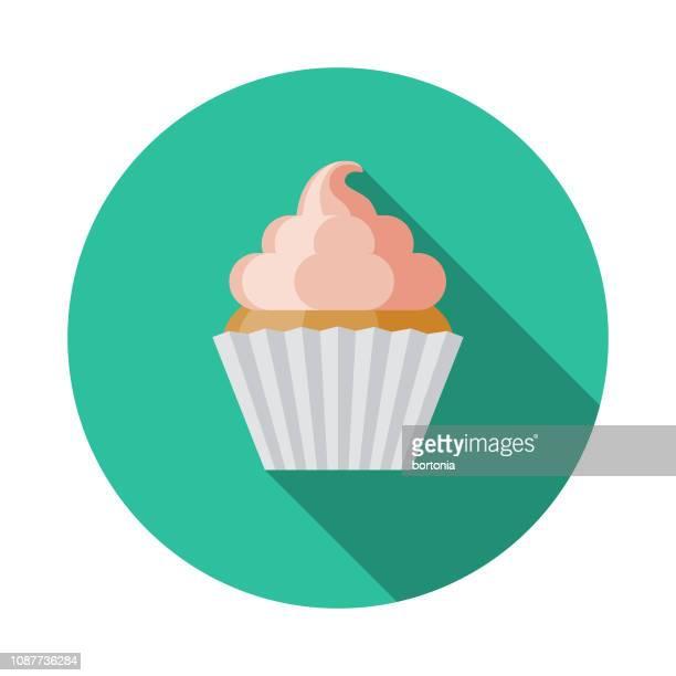 cupcake flat design prom icon - icing stock illustrations