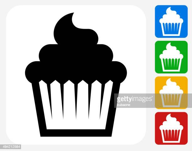 cupcake icon flat graphic design - muffin stock illustrations, clip art, cartoons, & icons