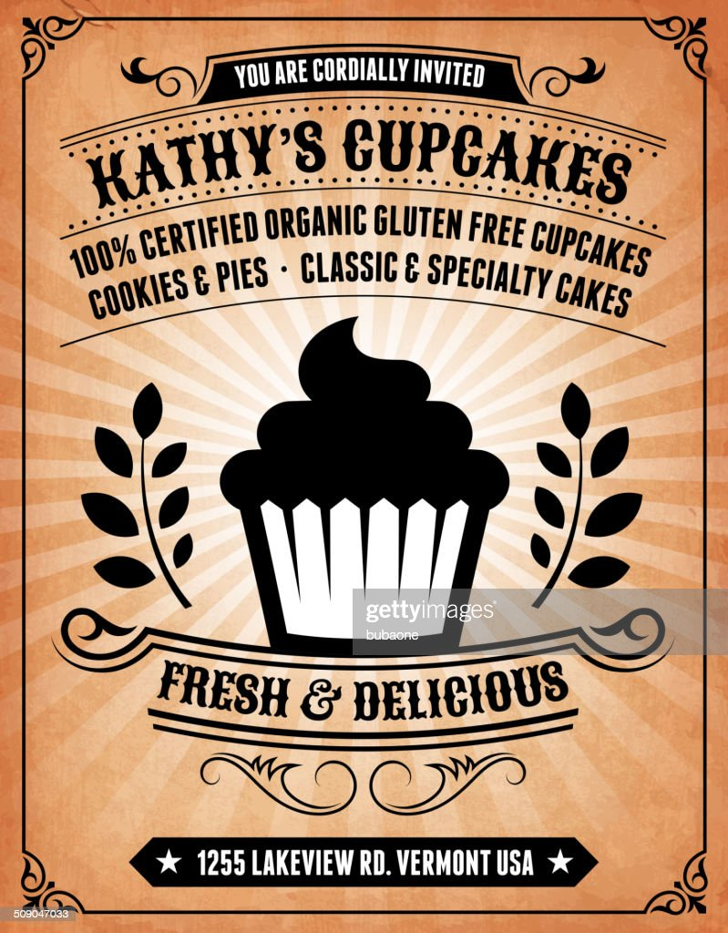 Cupcake Invitation on royalty free vector Background Poster : stock illustration