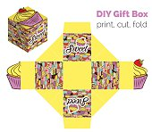 Cupcake packaging for deserts, candies.
