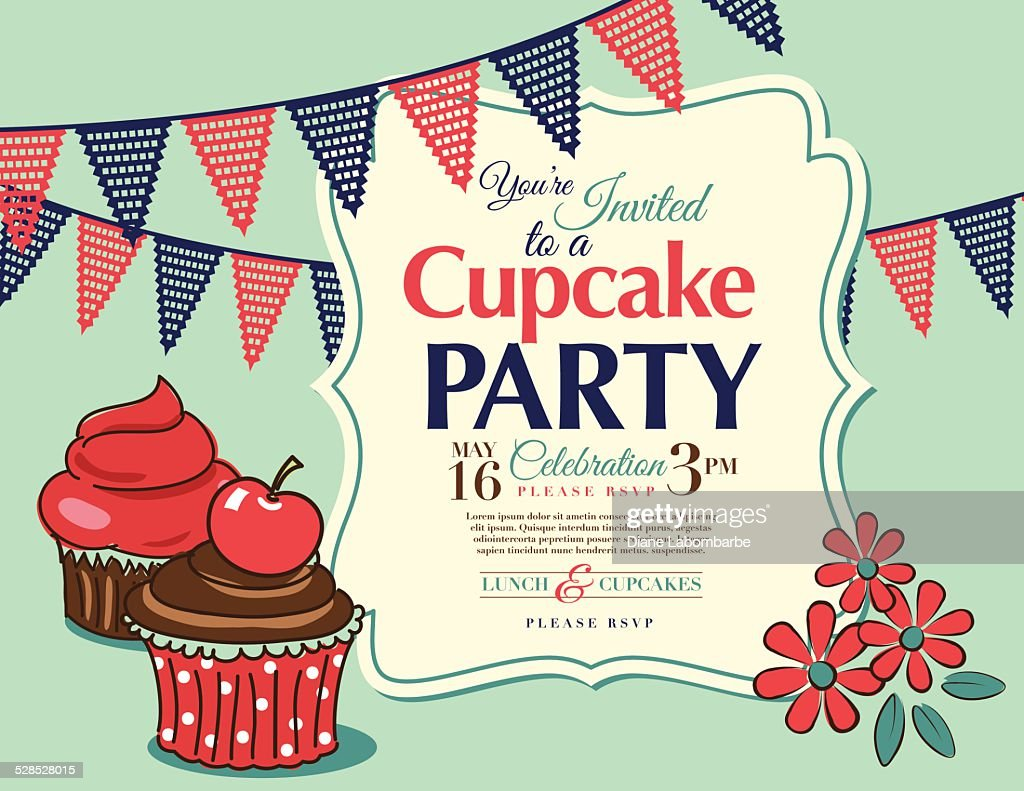 Cupcake Party Invitation Template In Aqua Horizontal Vector Art ...