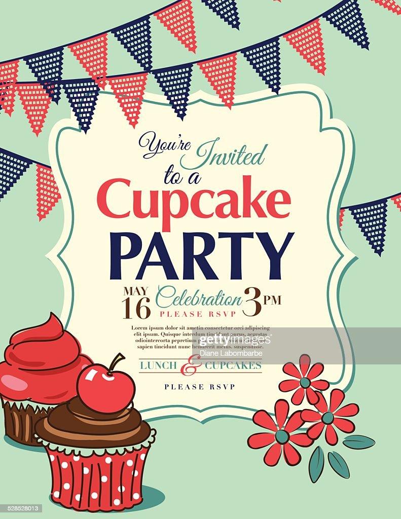 Cupcake Party Invitation Template In Aqua Vertical Vector Art ...