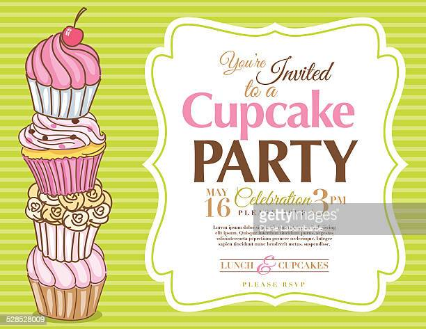 cupcake party invitation template in green horizontal - dessert topping stock illustrations, clip art, cartoons, & icons
