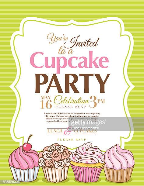 Cupcake Party Invitation Template In Green Vertical
