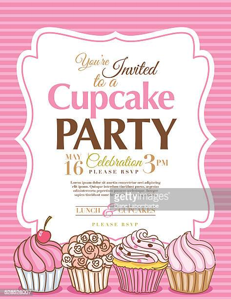Cupcake Party Invitation Template In Pink Vertical