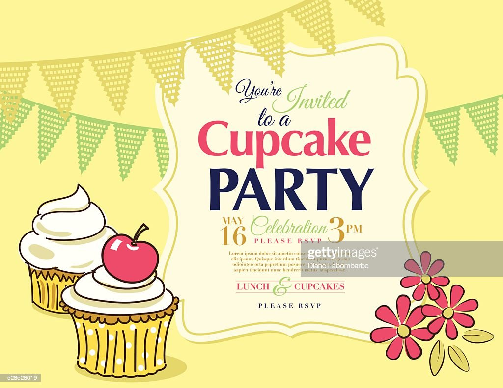 Cupcake Party Invitation Template In Yellow Horizontal Vector Art ...