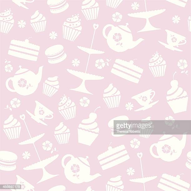 cupcake seamless pattern - macaroon stock illustrations, clip art, cartoons, & icons