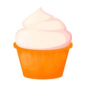 Cupcake sweet cake birthday food bakery party vector illustration. Chocolate cream dessert muffin delicious