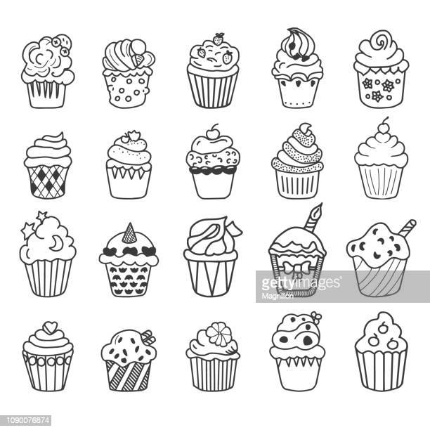 cupcake vector doodles set - muffin stock illustrations, clip art, cartoons, & icons