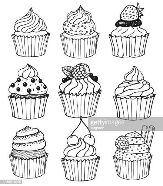 cupcake vector doodles set - cartoon desserts stock illustrations