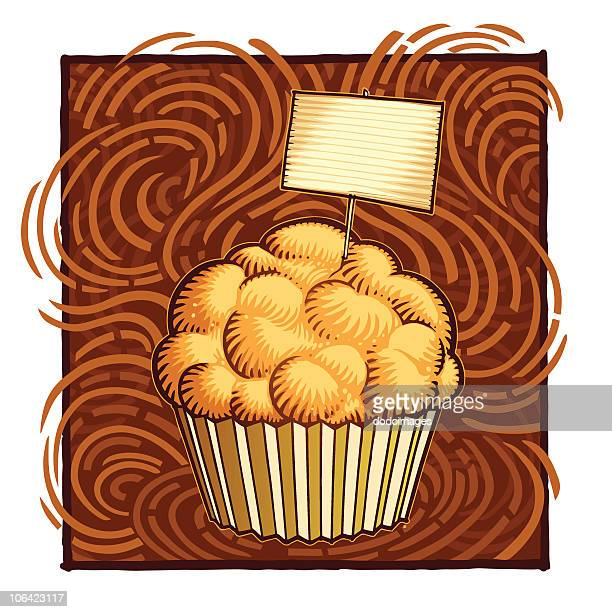 cupcake with a blank label