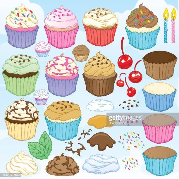 ilustrações, clipart, desenhos animados e ícones de cupcakes e coberturas - molho de chocolate