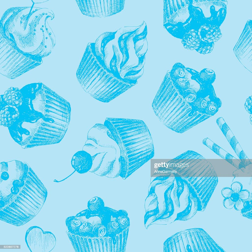 Cupcakes blue seamless pattern