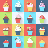 Cupcakes icons set in flat style.