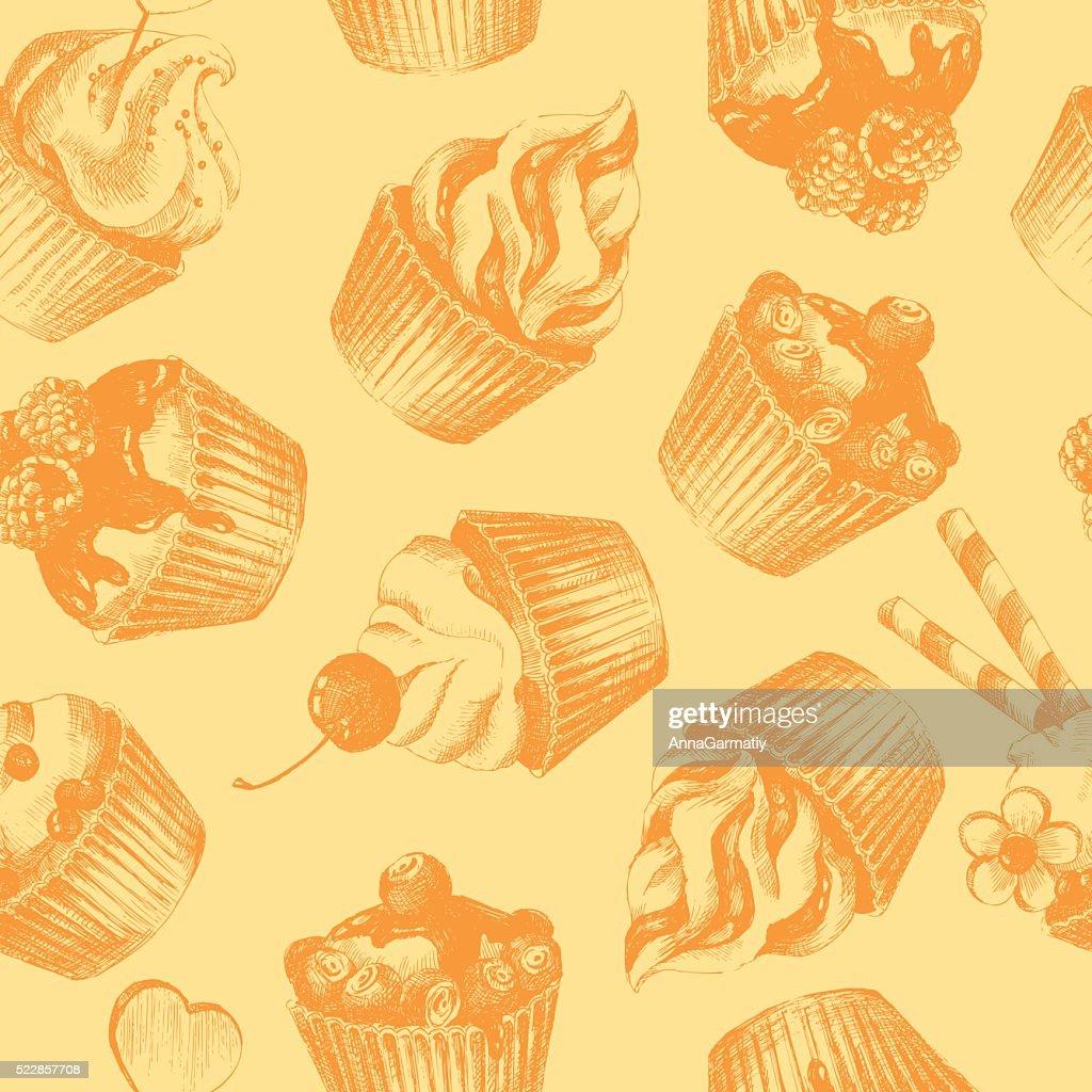 Cupcakes ocher seamless pattern