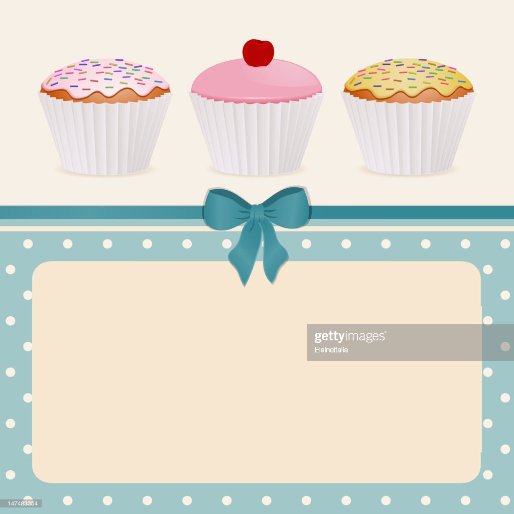 Cupcakes on a blue polka dot background