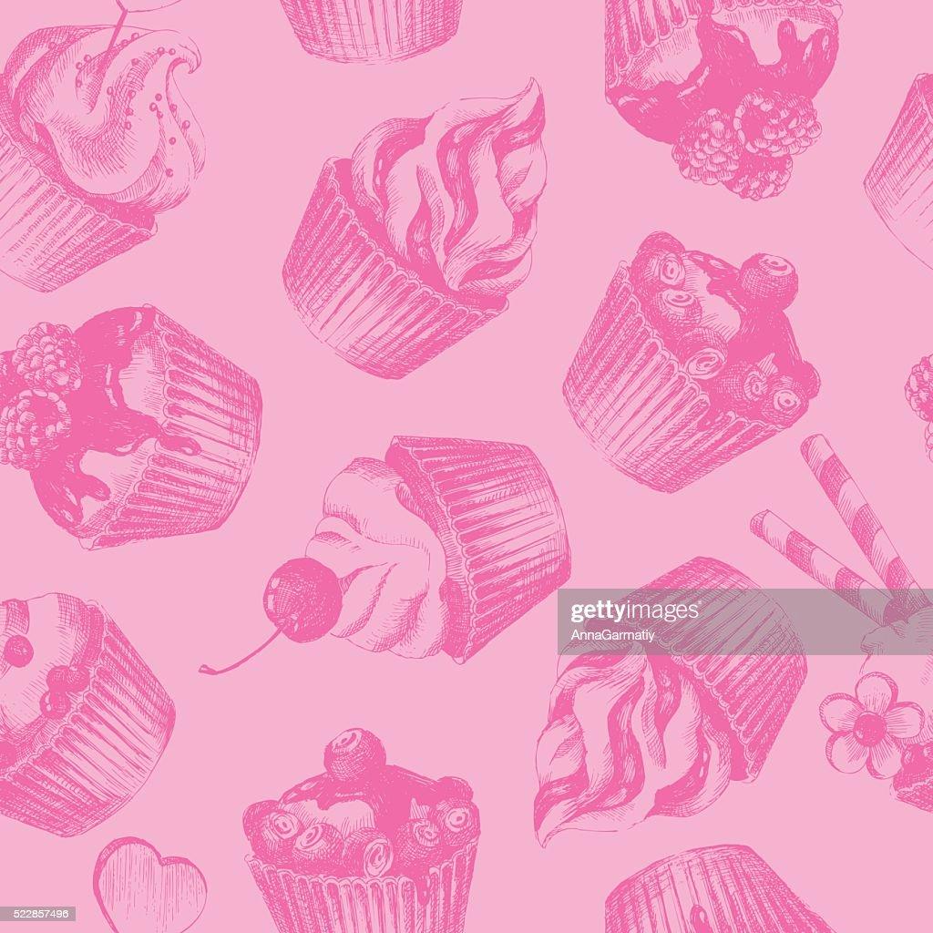 Cupcakes pink seamless pattern
