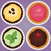Cupcakes set vector illustration.