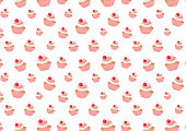 Cupcakes. Vector seamless pattern with cupcakes and blueberry