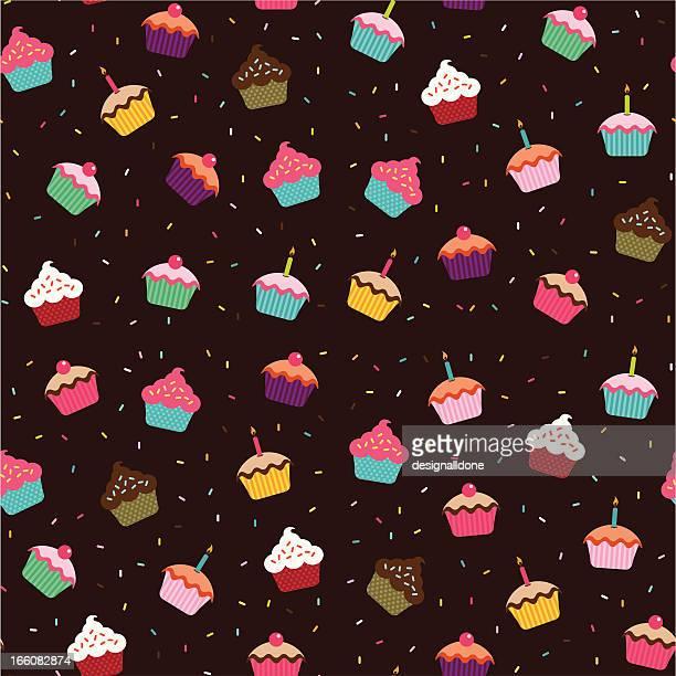 ilustrações, clipart, desenhos animados e ícones de cupcakes papel de parede (sem emendas) - comida doce