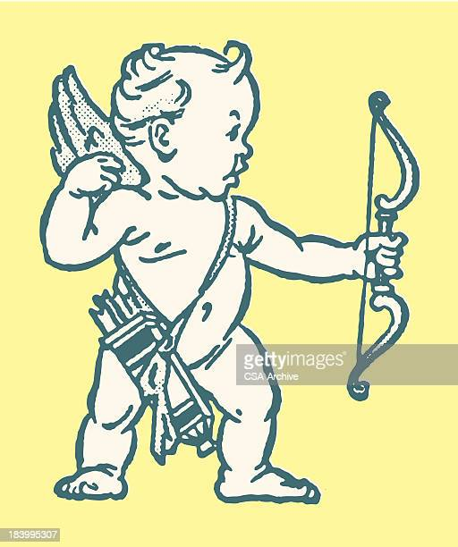 stockillustraties, clipart, cartoons en iconen met cupid aiming bow and arrow - cupidon